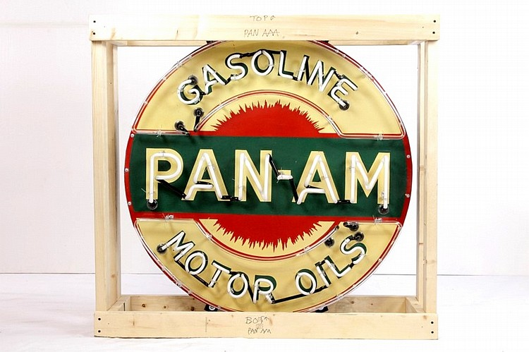 Original Pan Am Gasoline SSP Neon Sign