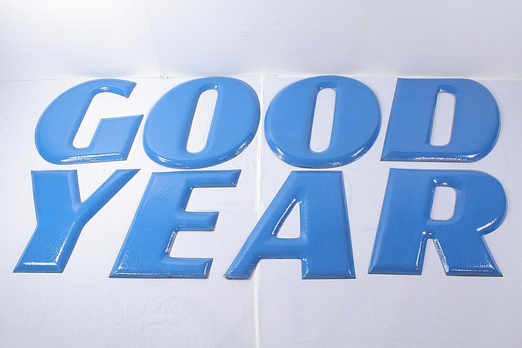 Good Year Porcelain Sign Bubble Letters