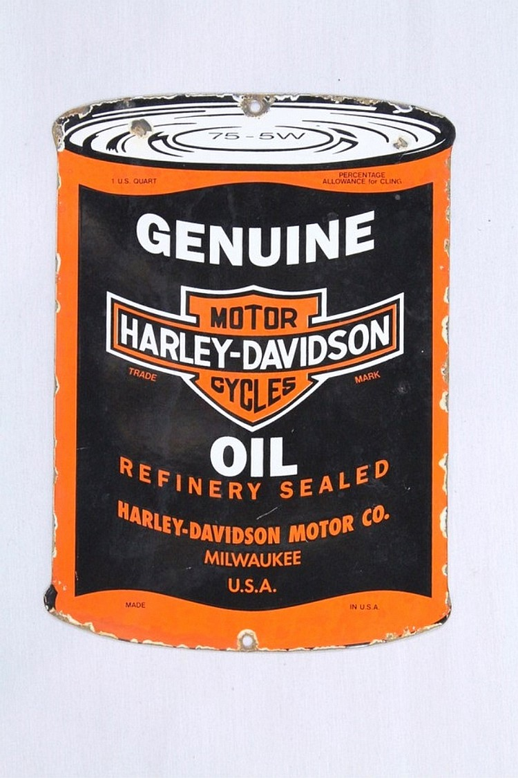 Harley-Davidson Diecut Porcelain Oil Can Sign