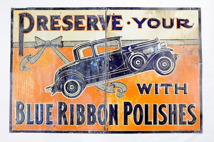 Original Rare Blue Ribbon Auto Polish SSE Sign