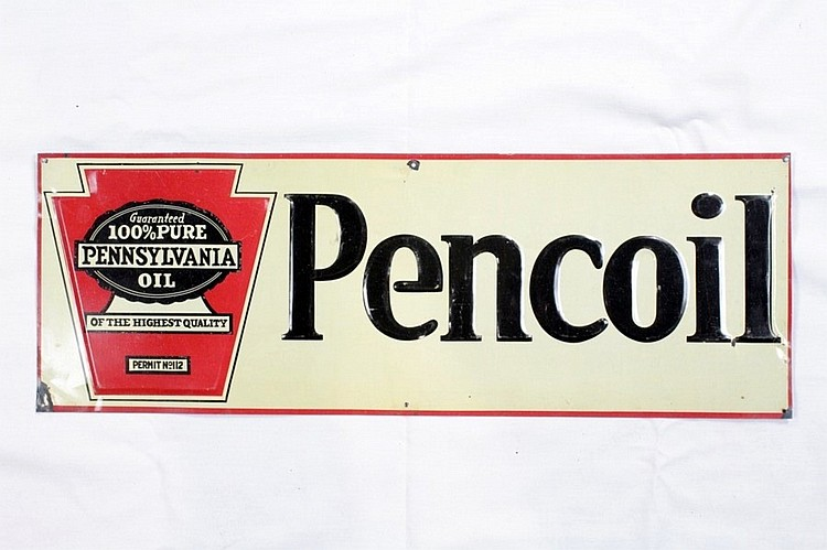 Pencoil Motor Oil Single Sided Embossed Tin Sign