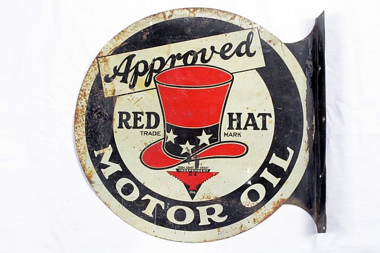Original Rare Red Hat Double Sided Tin Flange