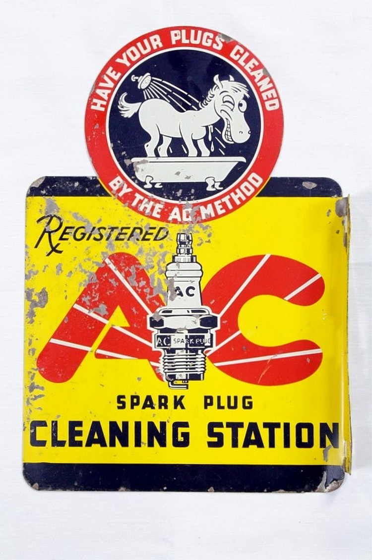 AC Spark Plugs Die Cut DST Flange Sign