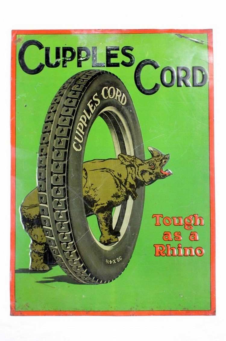 Rare Cupples Cord Tire Single Sided Tin Sign