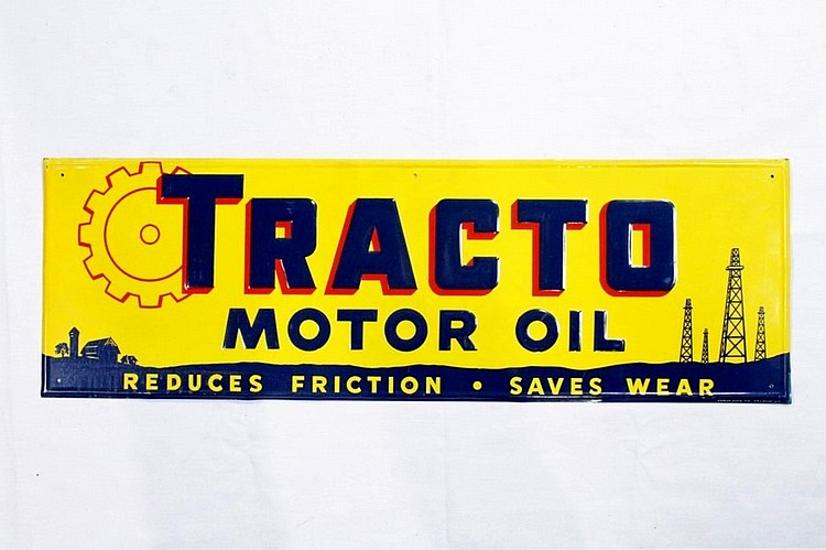 Tracto Motor Oil Single Sided Embossed Tin Sign