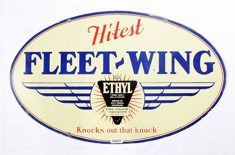Fleet-Wing Ethyl Gasoline Oval DSP Sign