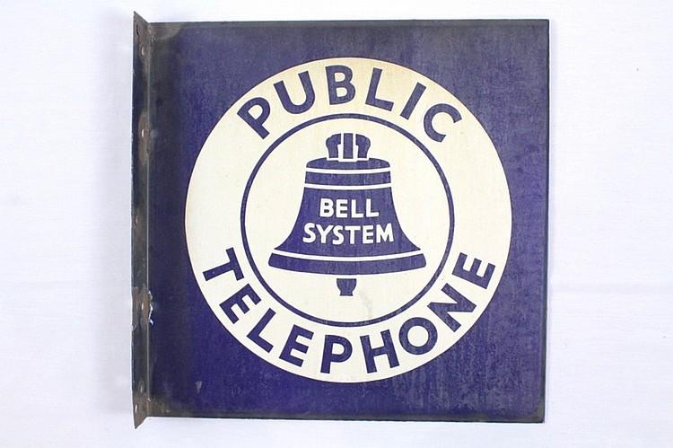 Bell System Public Telephone Porcelain Flange Sign