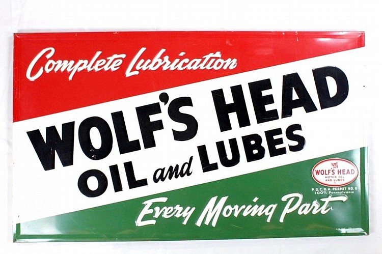 Original Wolf's Head Oil & Lubes SSTE Sign