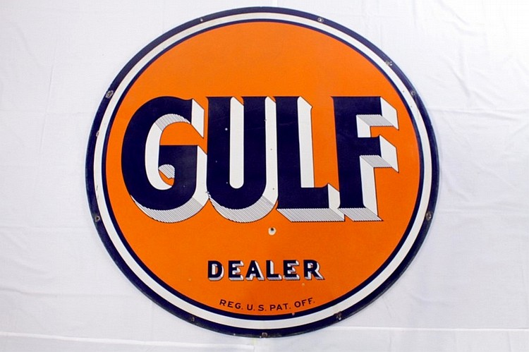 Gulf Dealer Double Sided Porcelain Sign