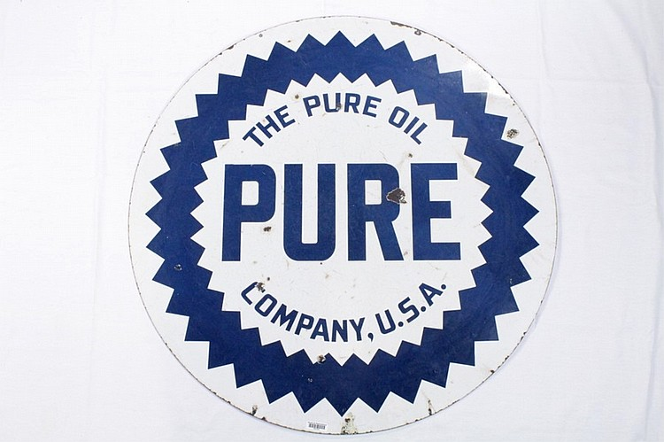 Pure Gasoline Double Sided Porcelain Sign