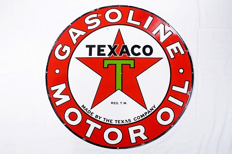 Texaco Motor Oil Double Sided Porcelain Sign