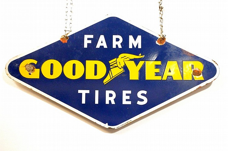 Good Year Farm Tires Double Sided Porcelain Sign