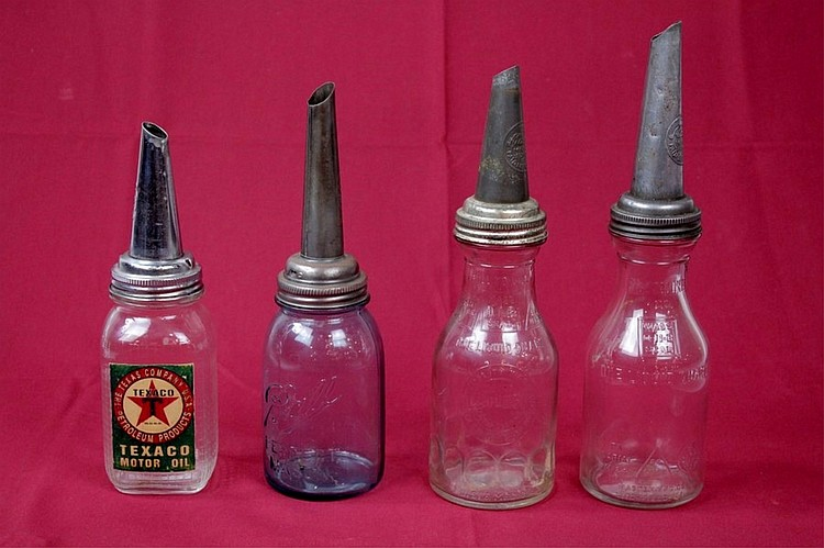 4 Glass Oil Bottles & Spouts