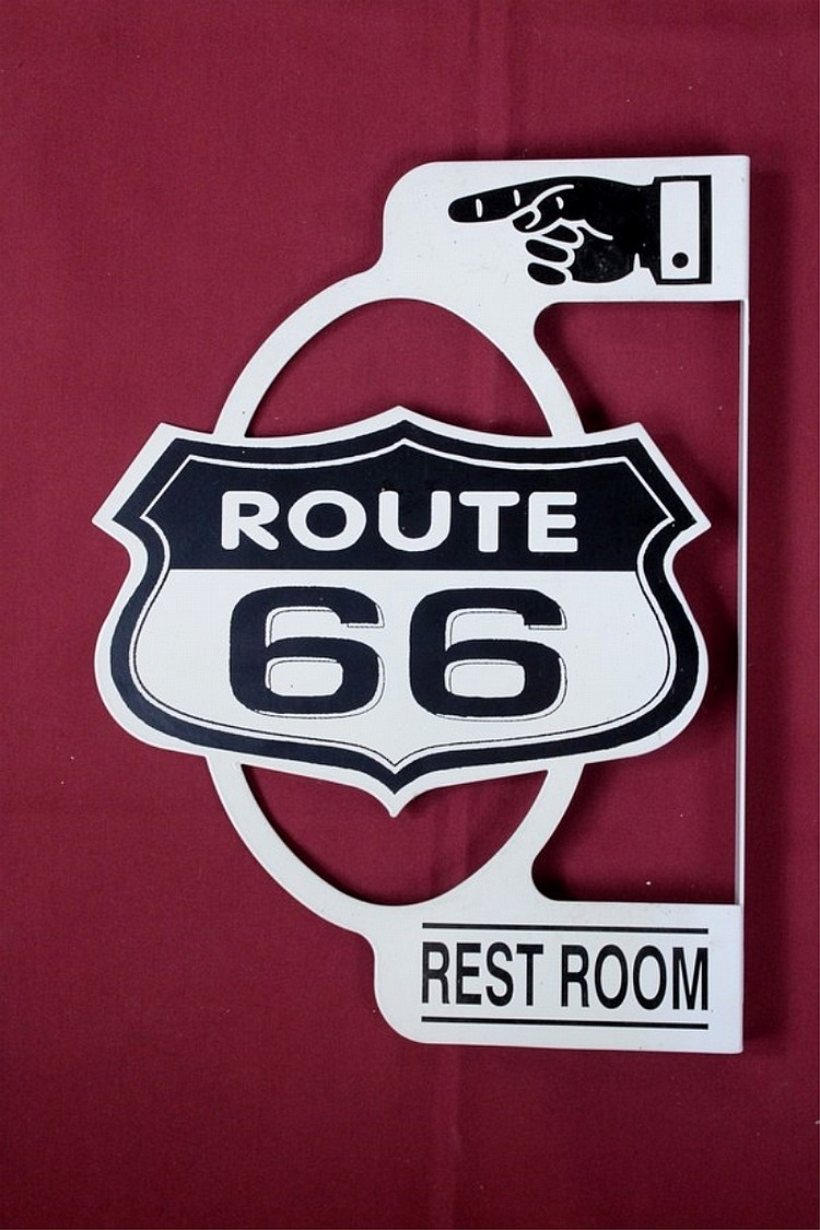 Route 66 Rest Room Flange Sign