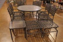 Plastic Top Patio Table, 6 Chairs, Small Tables
