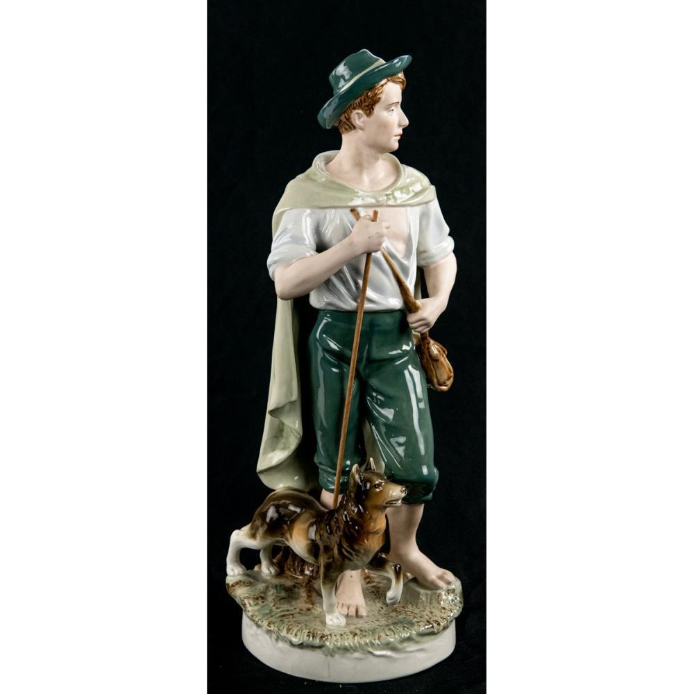 Royal Dux Porcelain Statue Boy w/Collie