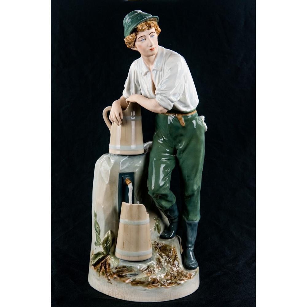 Royal Dux Porcelain Statue Man Filling Water Jug