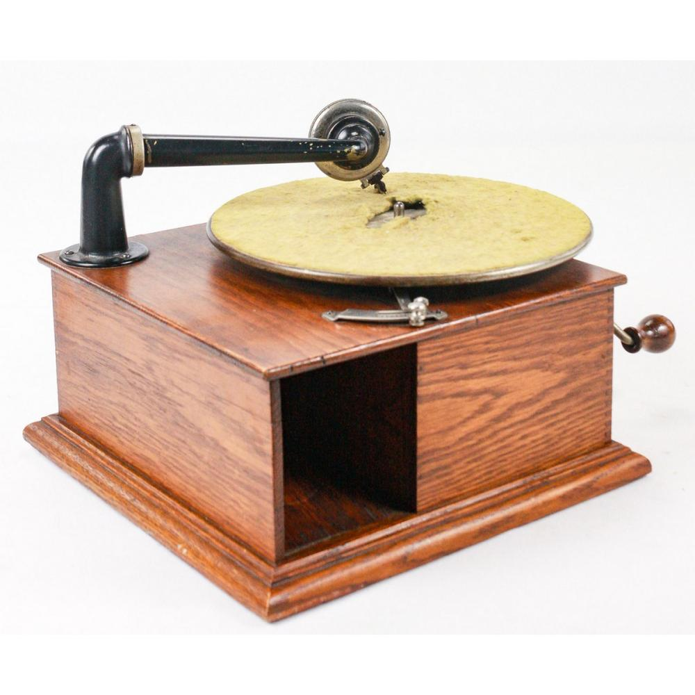 Small Off Brand Oak Tabletop Disc Phonograph