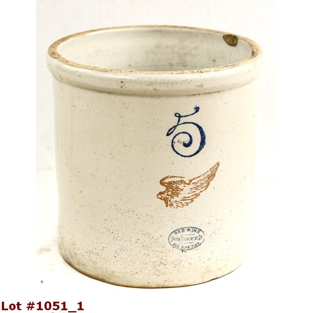 Antique 5 Gallon Red Wing Stoneware Crock
