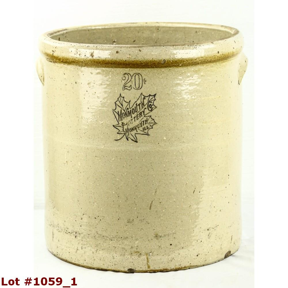 Antique 20 Gallon Monmouth Lidded Stoneware Crock