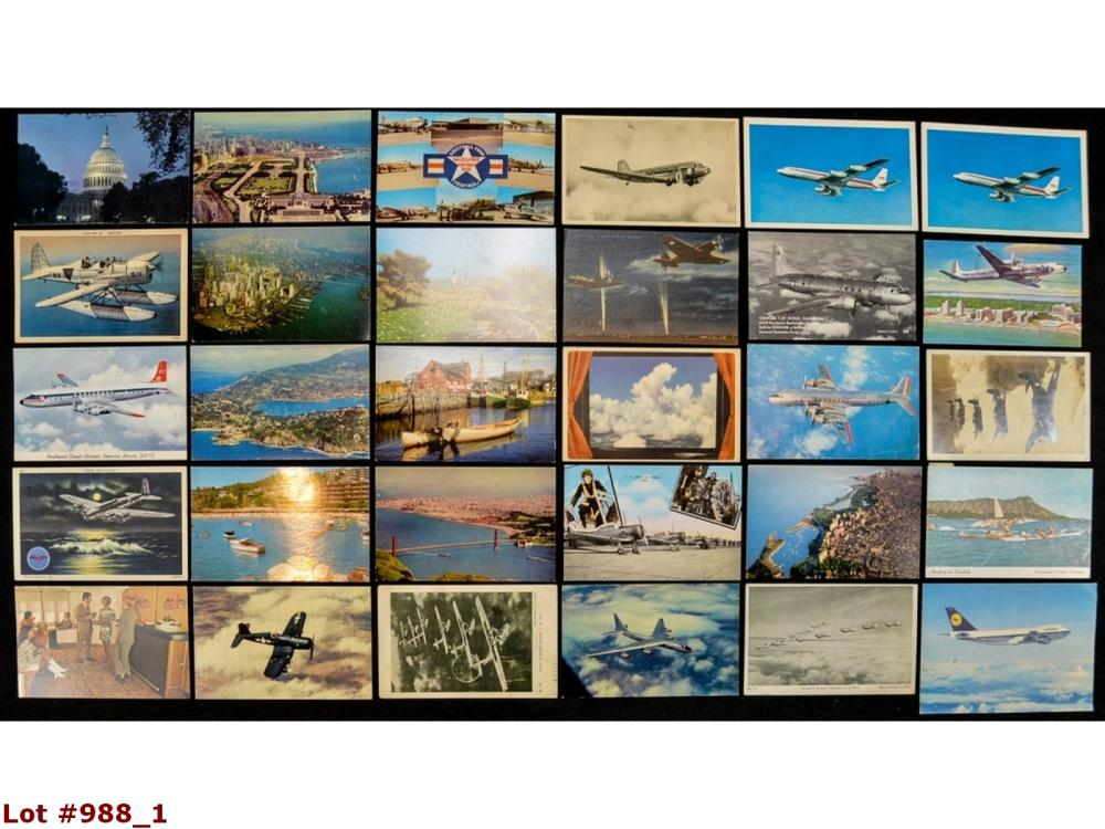 Lot Of 30 Airplane & Airport Vintage Postcards