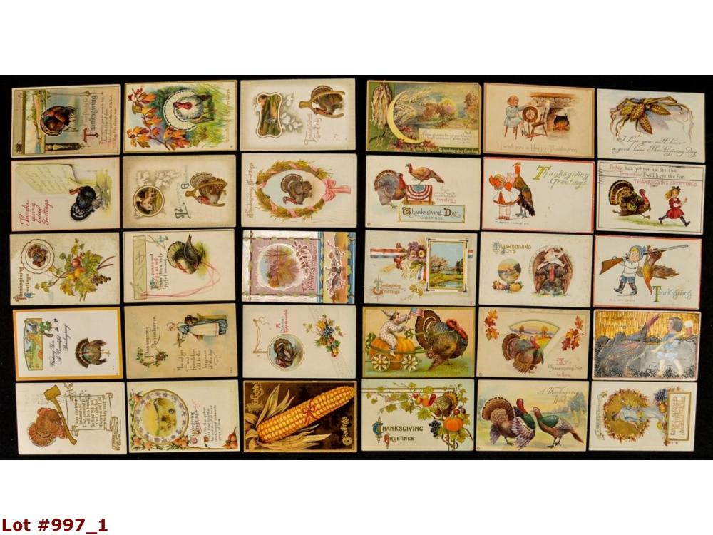 Lot Of 30 Thanksgiving Vintage Postcards