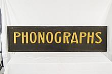 Vintage Metal & Wood Frame Phonograph Dealer Sign