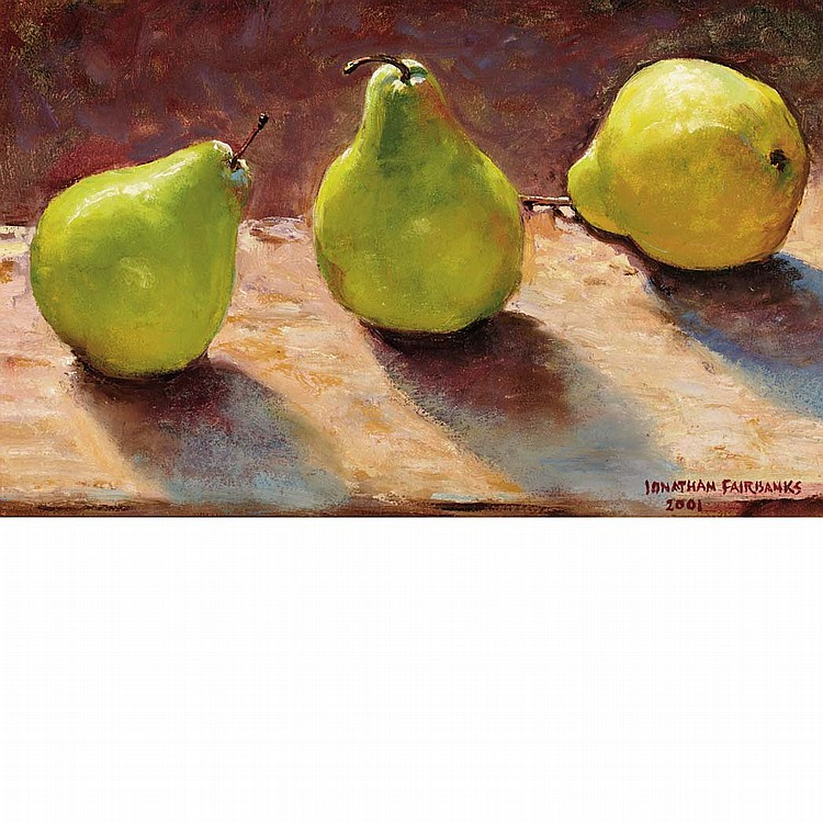 Jonathan Fairbanks American, b. 1933 Three's a Pear; Together with Group of Three paintings of Pears
