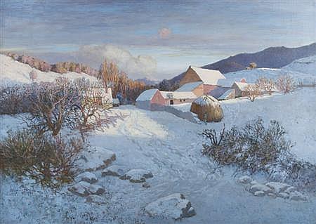 Stephen Maxfield Parrish American, 1846-1938 Farm Buildings in Snow, 1923