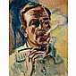 Max Pechstein German, 1881-1955 Self Portrait Smoking a Pipe and Landscape Study with Canal and House, 1929: a double-sided drawing