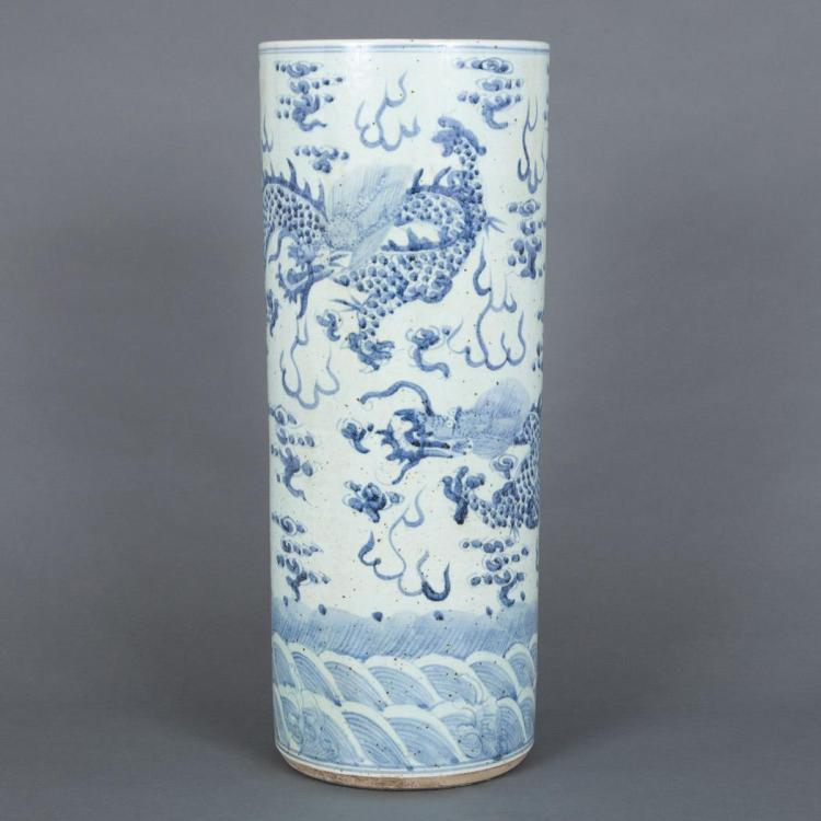 Umbrella Stand Blue And White: Chinese Blue And White Glazed Porcelain Umbrella Stand