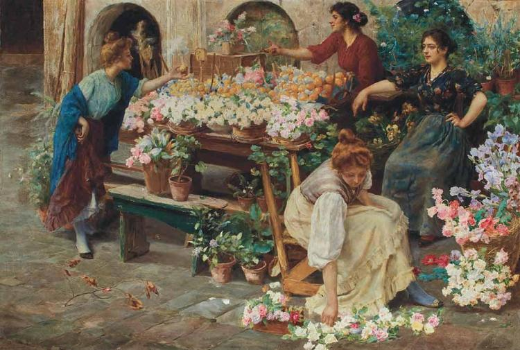 Stefano Novo Italian, 1862-1927 The Flower Market