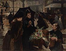 Louis Marie de Schryver French, 1862-1942 Parisien Flower Vendor