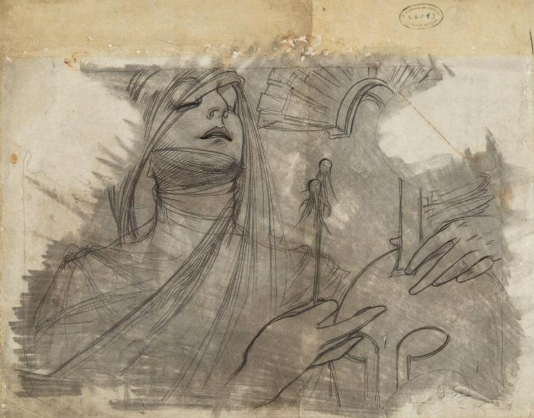 Alphonse Maria Mucha Czech, 1860-1939 Drawing for Bosnia & Herzegovina Pavilion at the 1900 Paris Exhibition, 1900...