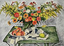 Andre Dunoyer de Segonzac French, 1884-1974 Peaches and Zinnias on a Green Table