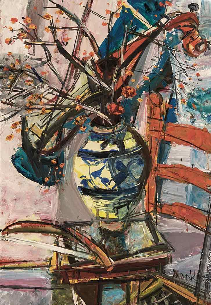 Sigmund Menkes Polish/American, 1896-1986 Floral Still Life with Stringed Instrument