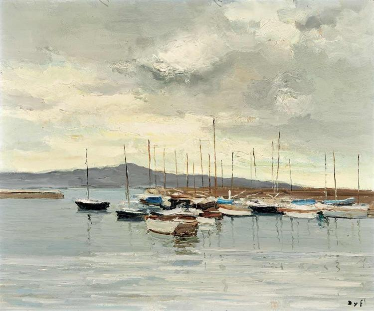 Marcel Dyf French, 1899-1985 Port d''Antibes   Signed Dyf (lr) Oil on canvas 18 1/8 x 21 5/8 inches (46 x...
