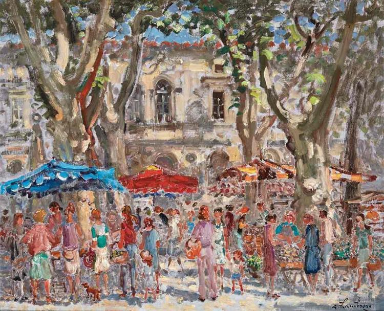 Andre Hambourg French, 1909-1999 Soleil sur le Marche du Mercredi, St. Remy de Provence, circa 1978