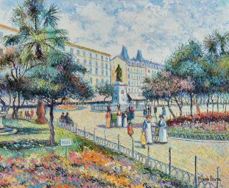 Hughes Claude Pissarro French, b. 1935 La Statue du Dr. Georges Osterman, Polemologue Francais, dans la Jardin d''Aise