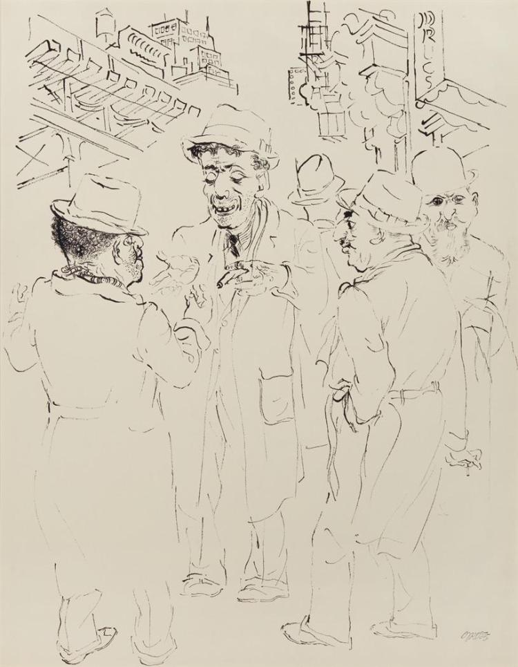George Ehrenfried Grosz German/American, 1893-1959 Men on a Street Corner; Study of a Chef: a double-sided work, circa 1932/4