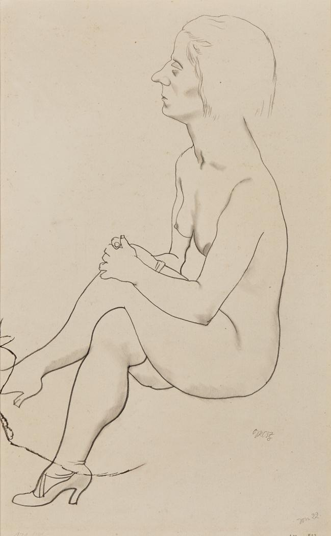 George Ehrenfried Grosz German/American, 1893-1959 Seated Nude; German Soldier, a Partial sketch: a double-sided work