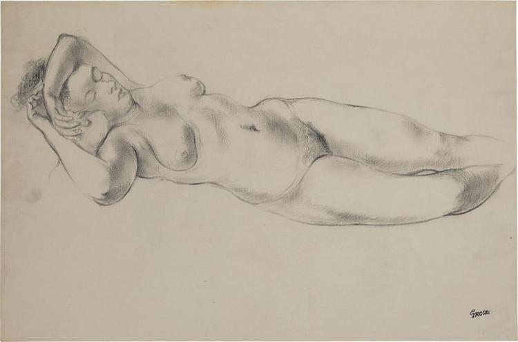 George Ehrenfried Grosz German, 1893-1959 Sleeping Female Nude, circa 1912