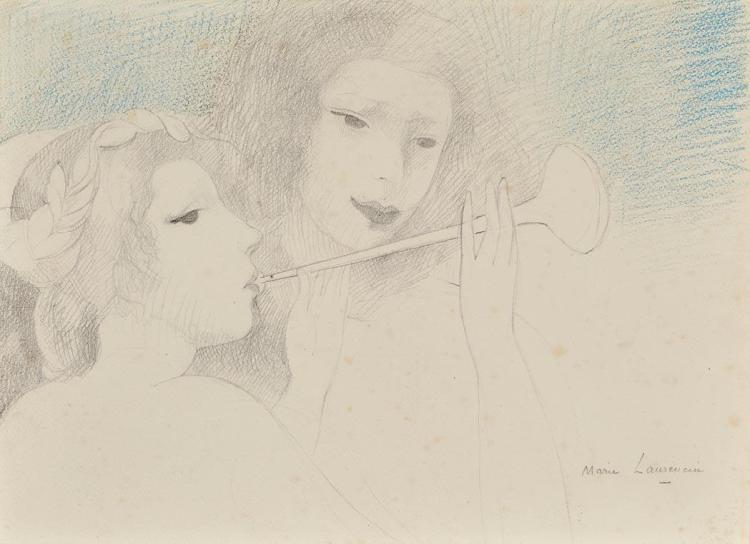 Marie Laurencin French, 1883-1956 Two Girls with a Horn