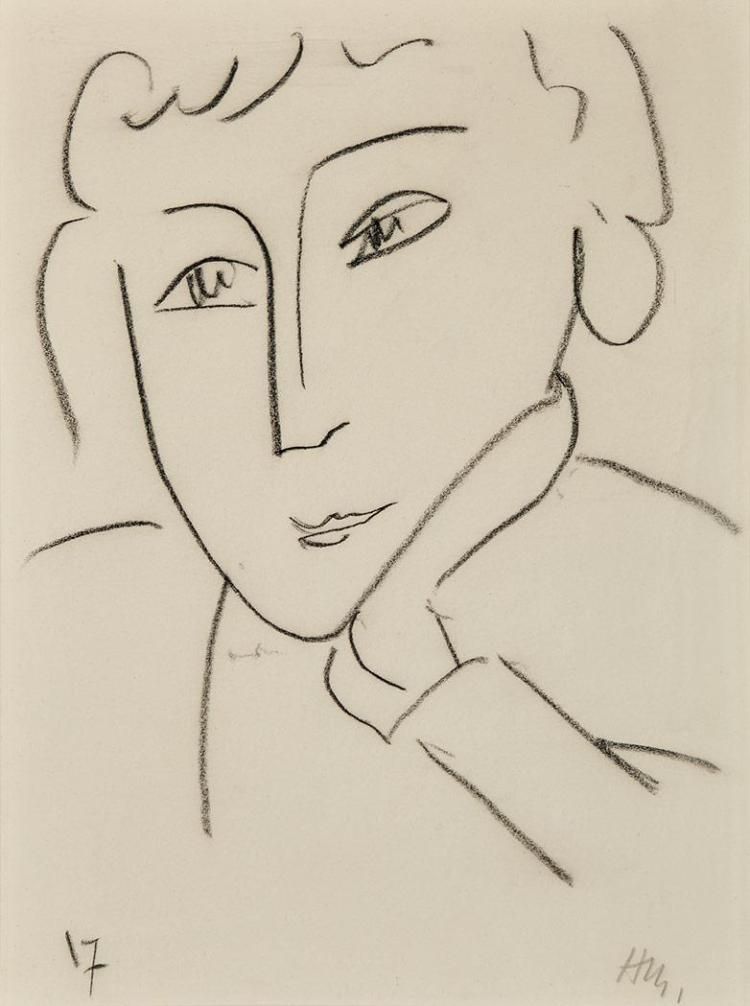 Henri Matisse French, 1869-1954 Head of a Woman, Leaning on Her Left Hand, circa 1951-52