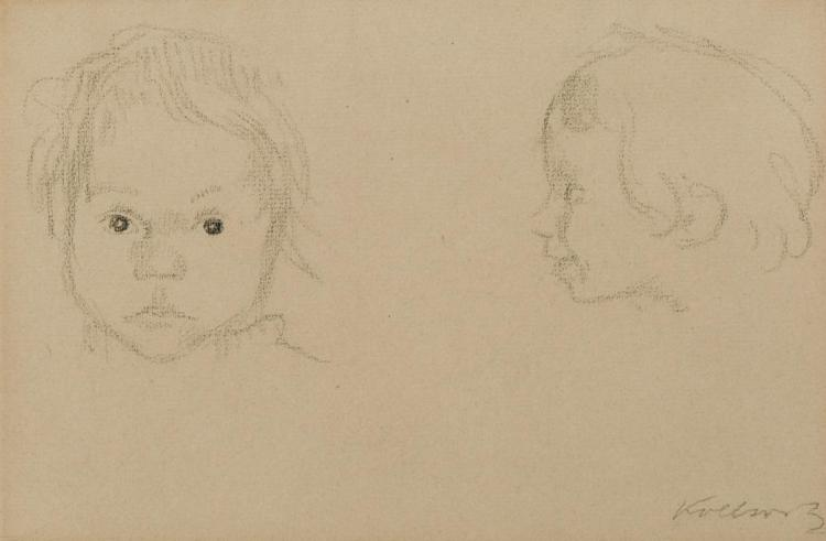 Kathe Kollwitz German, 1867-1945 Two Heads of Children, 1912