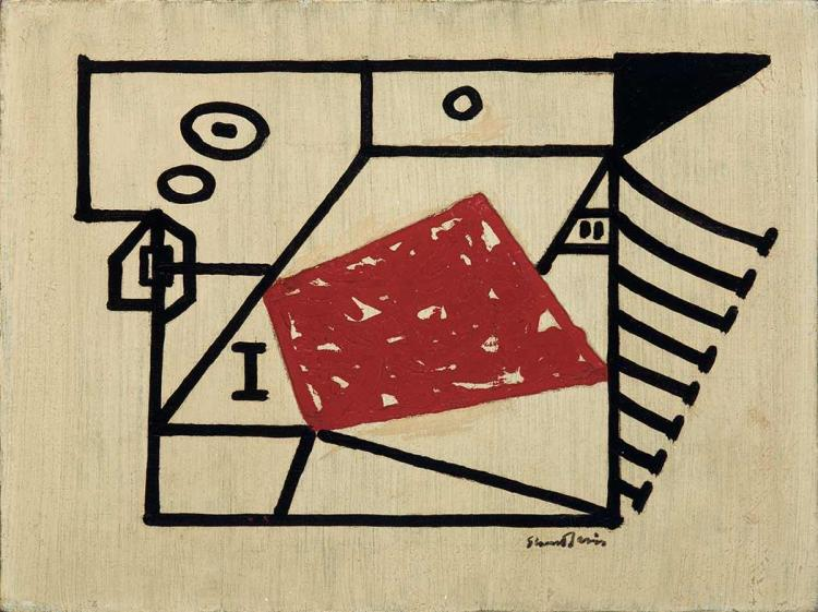 Stuart Davis American, 1892-1964 Composition with Red Polygon, 1941