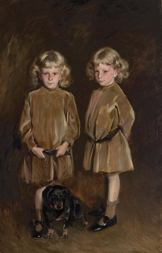 Irving Ramsey Wiles American, 1861-1948 The Twins   Signed Irving R. Wiles and dated 1907 (ur); inscri...