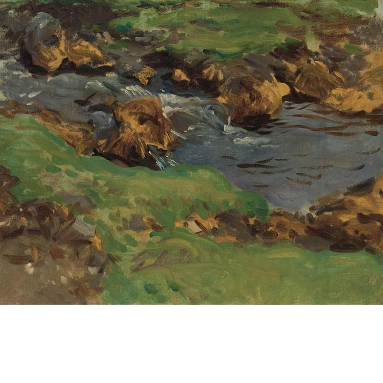 John Singer Sargent American, 1856-1925 Val D''Aosta: A Mountain Stream, circa 1907 Stamped with the artist...