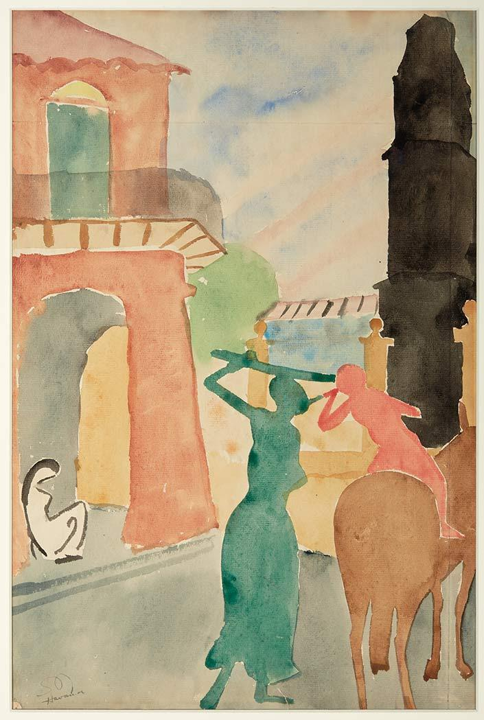 Stuart Davis American, 1892-1964 Havana, 1920 Signed SD and inscribed Havana (ll) Watercolor on pape...