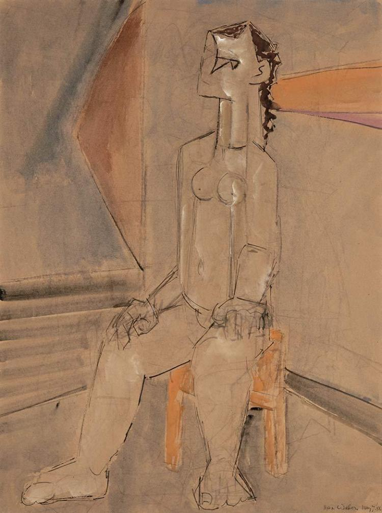Max Weber American, 1881-1961 Seated Woman, 1956   Signed Max Weber and dated May 7 ''56 (lr)  Gouach...